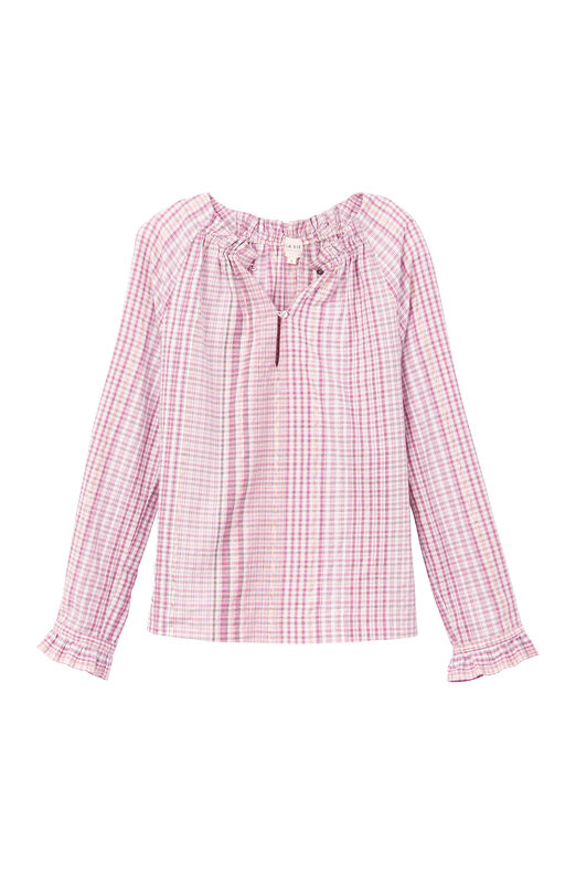La Vie Long Sleeve Lurex Plaid Top