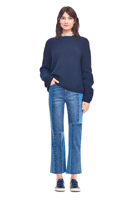La Vie Ribbed Mock Neck Pullover - Navy