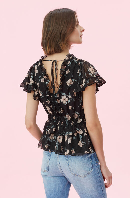 Daniella Floral Silk Burnout Top