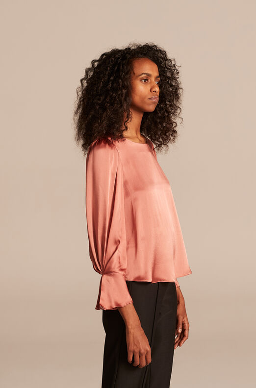 Silk Charmeuse Pleat Top, Antique Rose, large