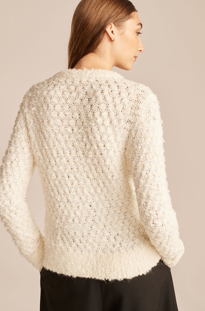 Alpaca Sweater With Removable Bow, Ivory, large
