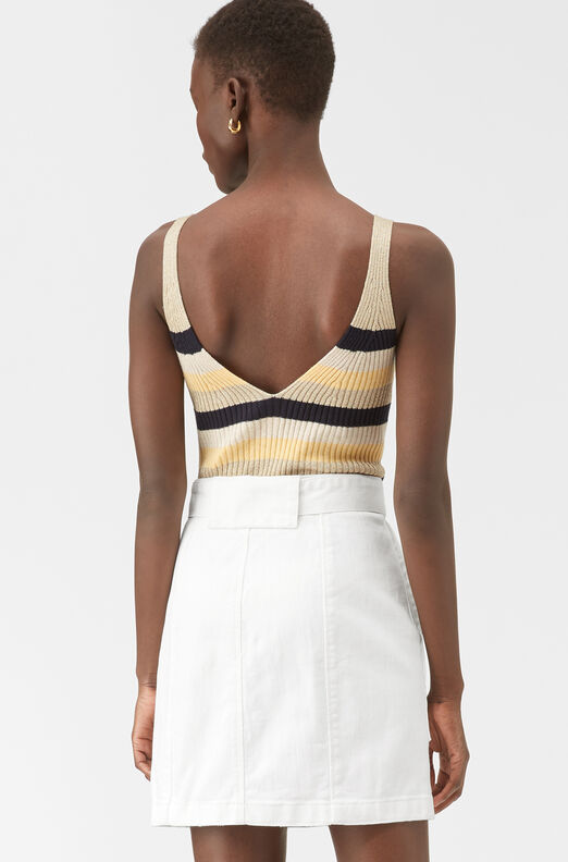 La Vie Striped Ribbed Tank, Lemon Stripe, large