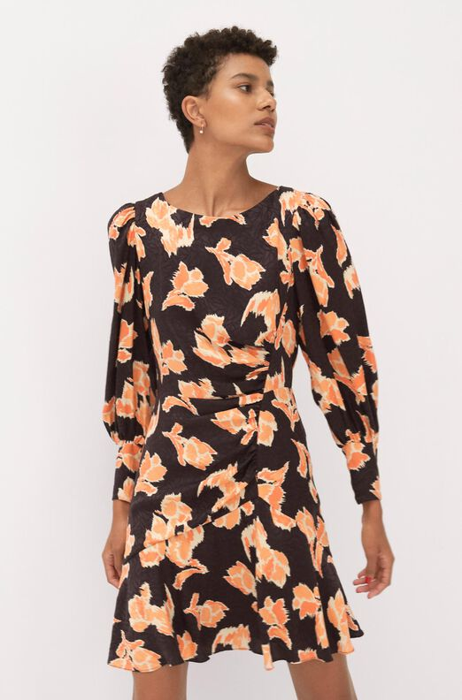 Ikat Blossom Silk Jacquard Dress