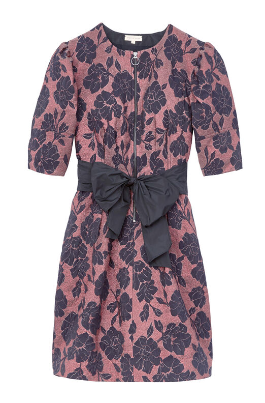 Floral Brocade Dress With Taffeta Bow