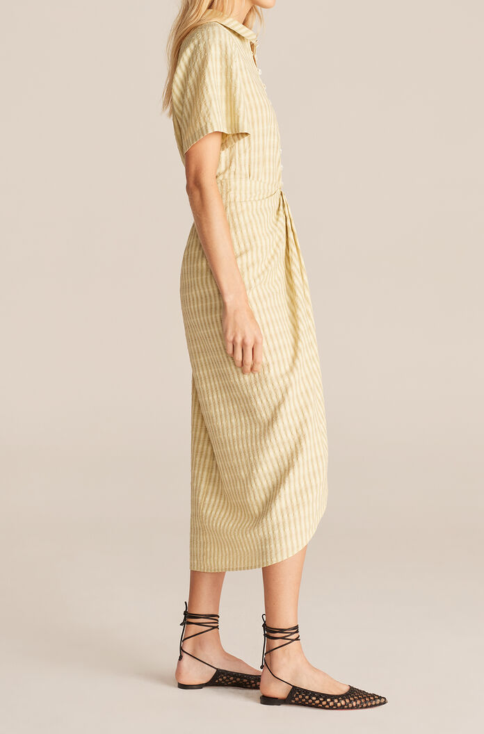 Textured Stripe Faux Wrap Skirt, Lime, large