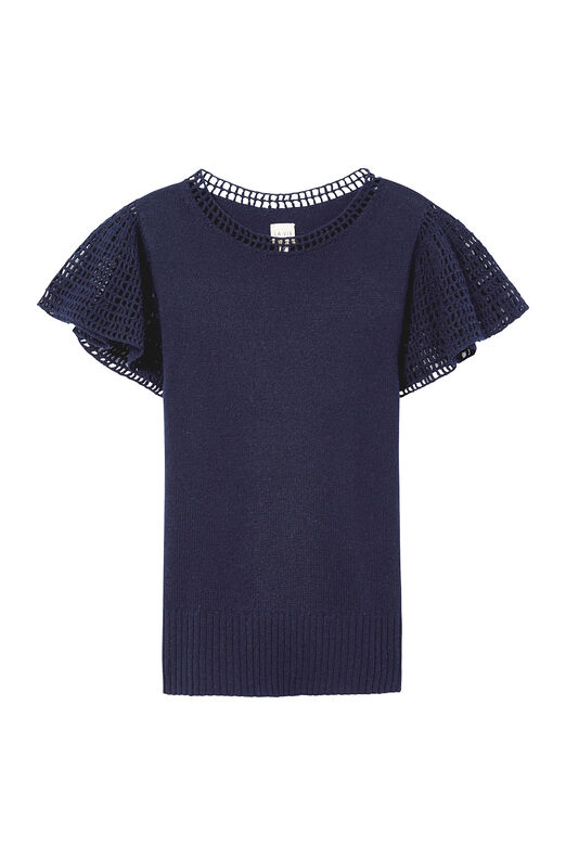 La Vie Short Sleeve Lace Stitch Pullover