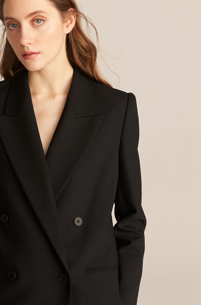 Double Breasted Cavalry Twill Blazer, Black, large