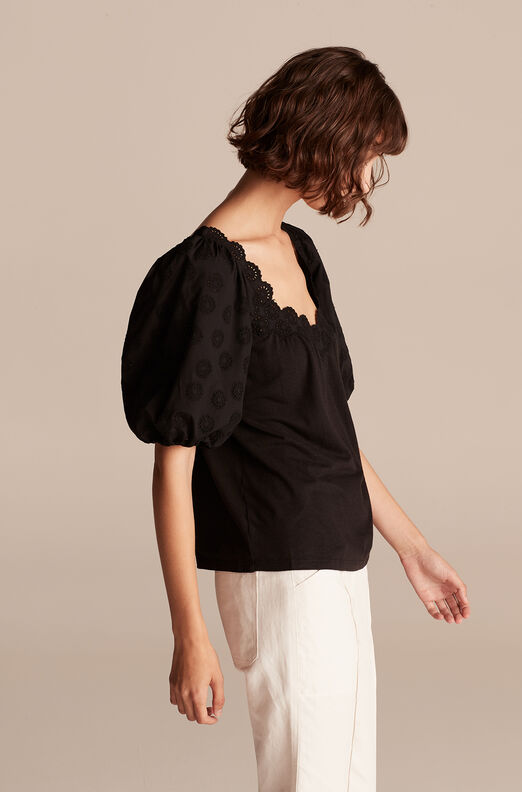 Alicia Embroidery Trim Jersey Top, Black, large