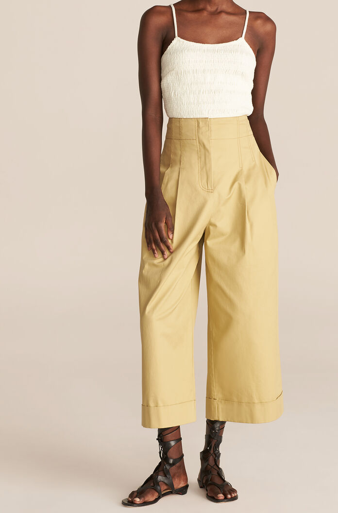 Compact Twill Flare Pant, Anise Green, large