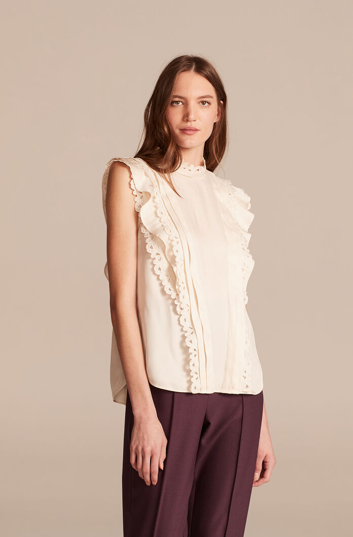 Sleeveless Embroidered Silk Top, Antique Cream, large