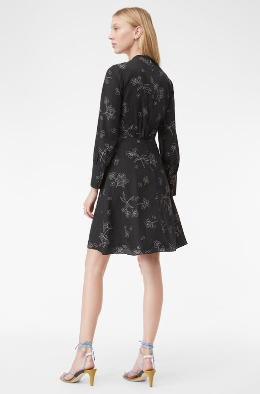 Tailored Silhouette Floral Dress, Black Combo, large