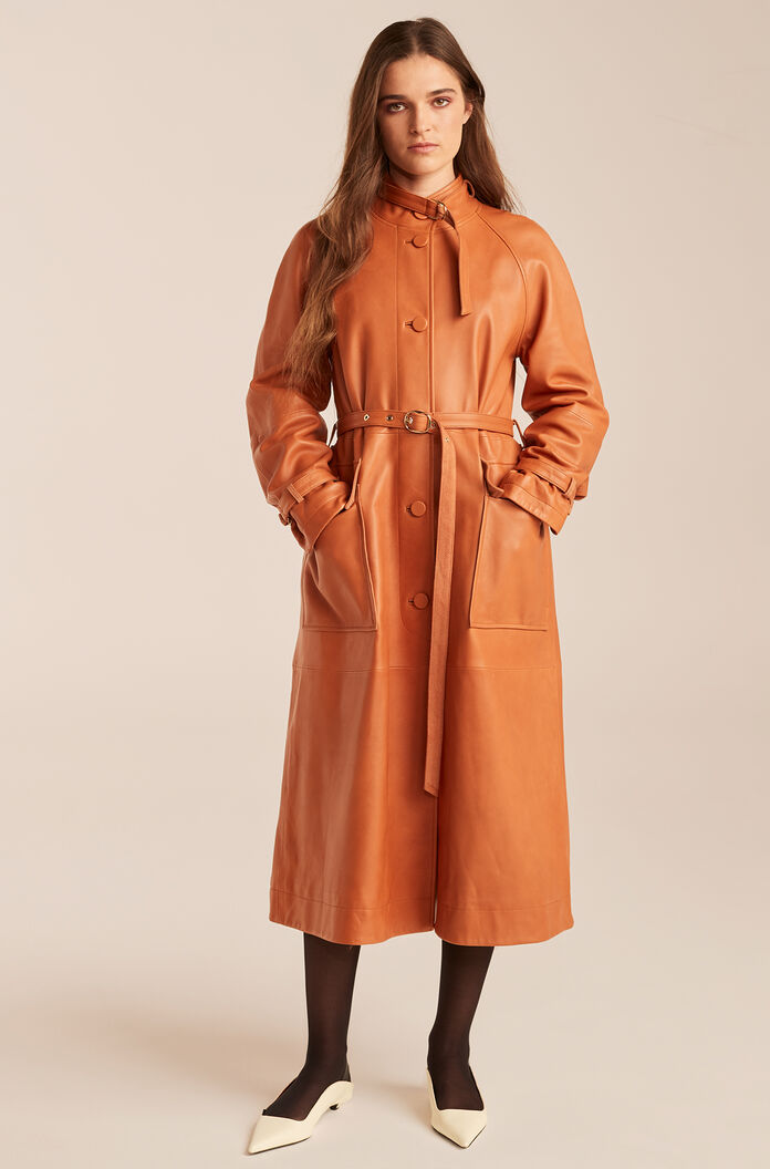 Leather Trench Coat-Sienna