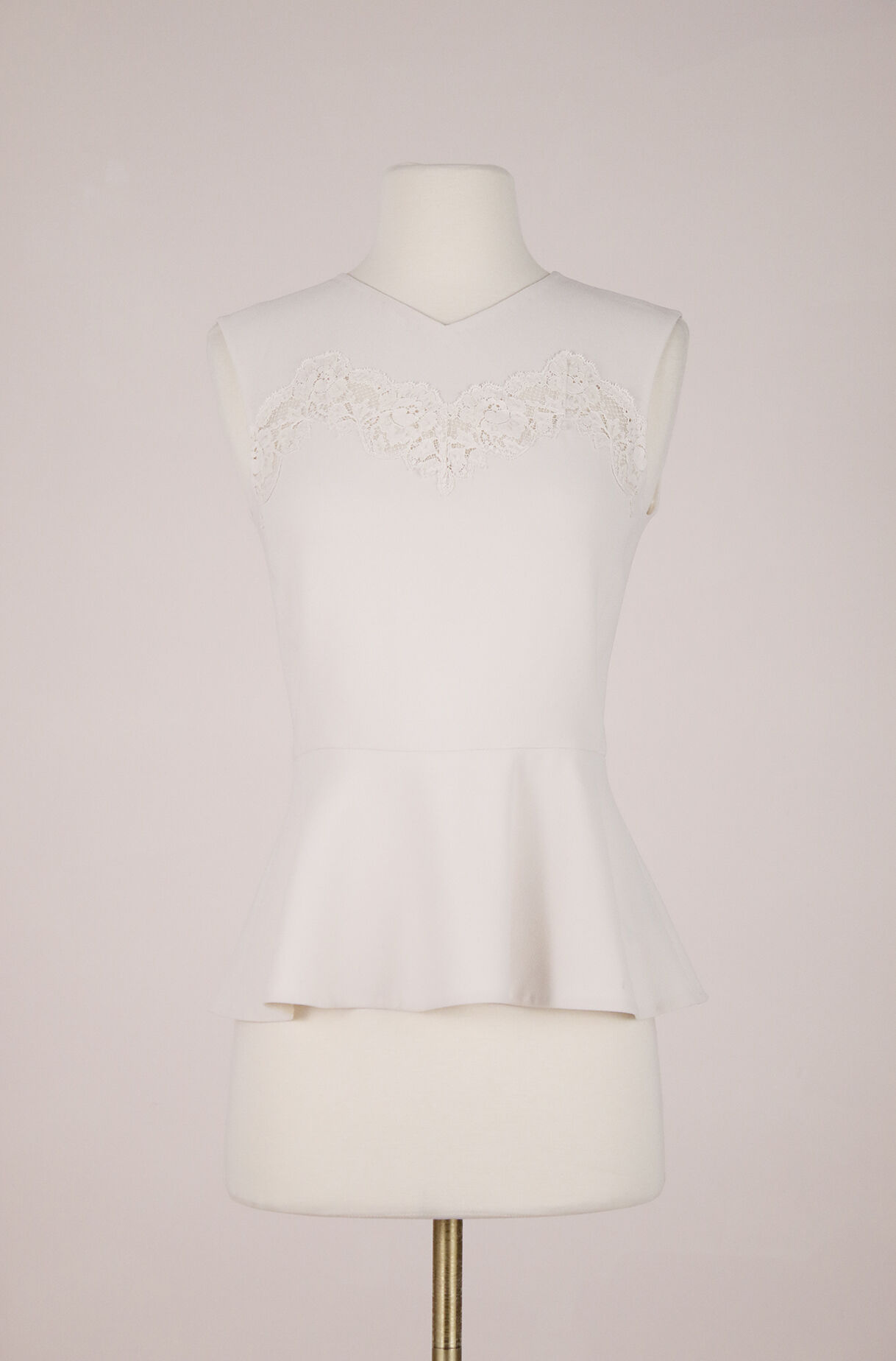 ReCollect Crepe & Lace Peplum Top