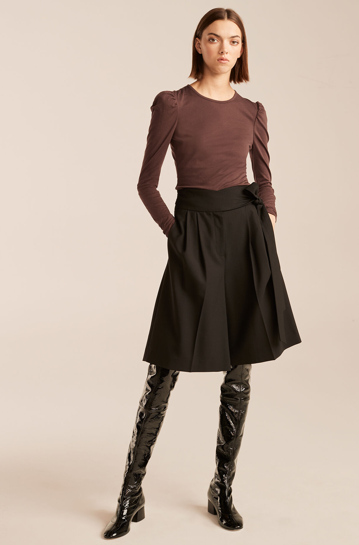 Ruched Long Sleeve Knit Top-Cabernet