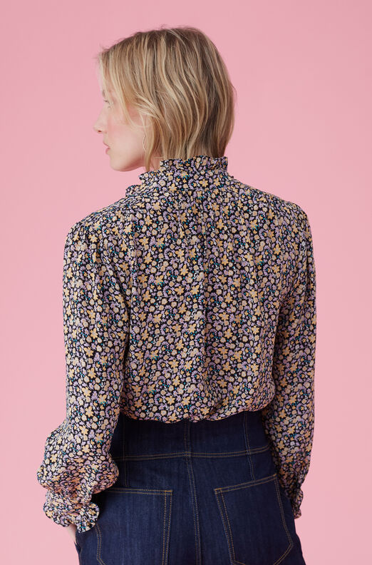 Mini Floral Print Silk Top