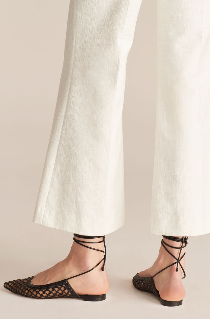 Cropped Fit And Flare Pant, White, large