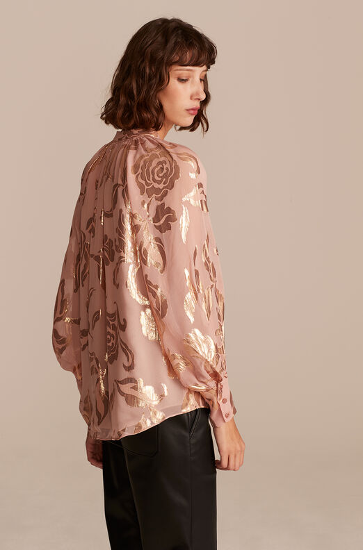 Datura Floral Button Front Top, Pale Orchid Combo, large