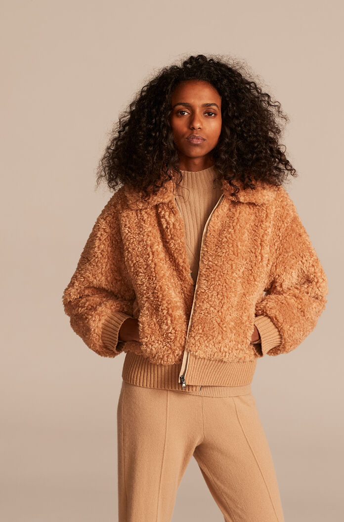 Curly Faux Shearling Coat, Caramel, large