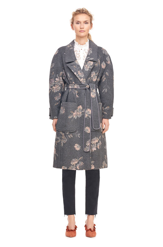 Floral Jacquard Belted Coat - Grey Combo