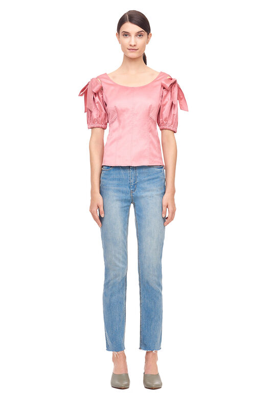 Sateen Bow Detail Top - Rosey Nude