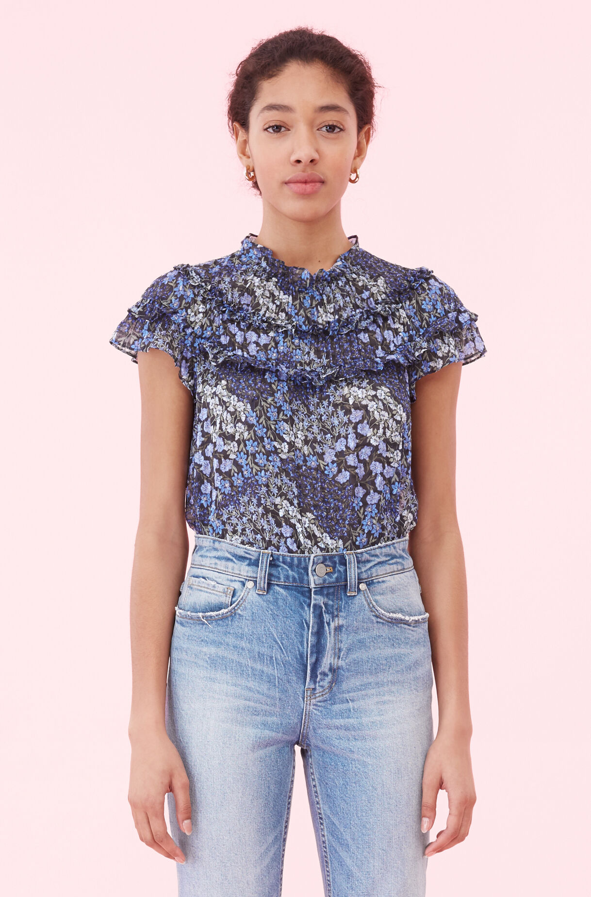 Ava Floral Ruffle Top, , large