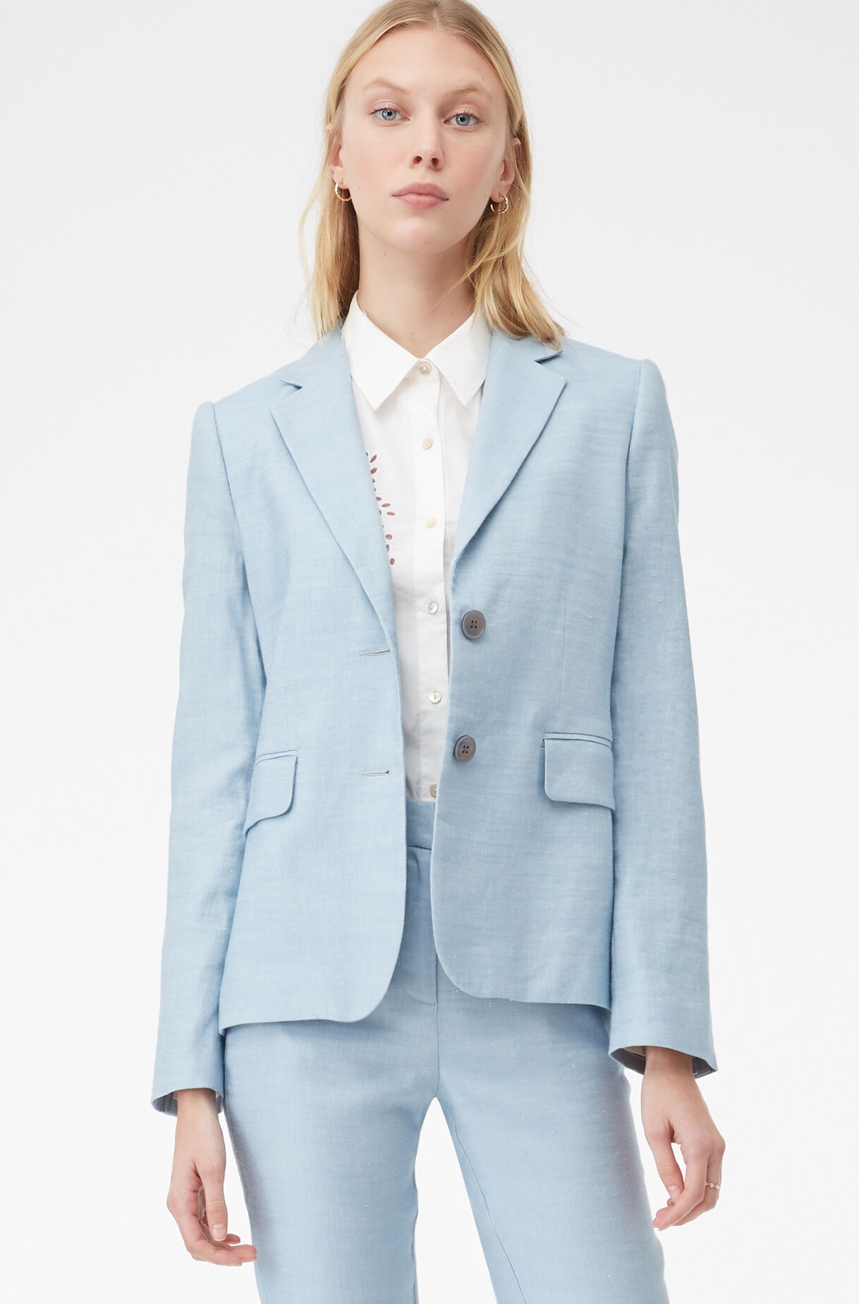 Tailored Twill Suiting Jacket, Washed Blue, large