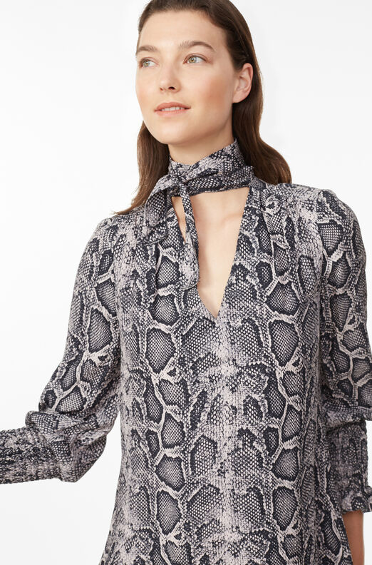 Snake Print Silk Scarf Tie Dress