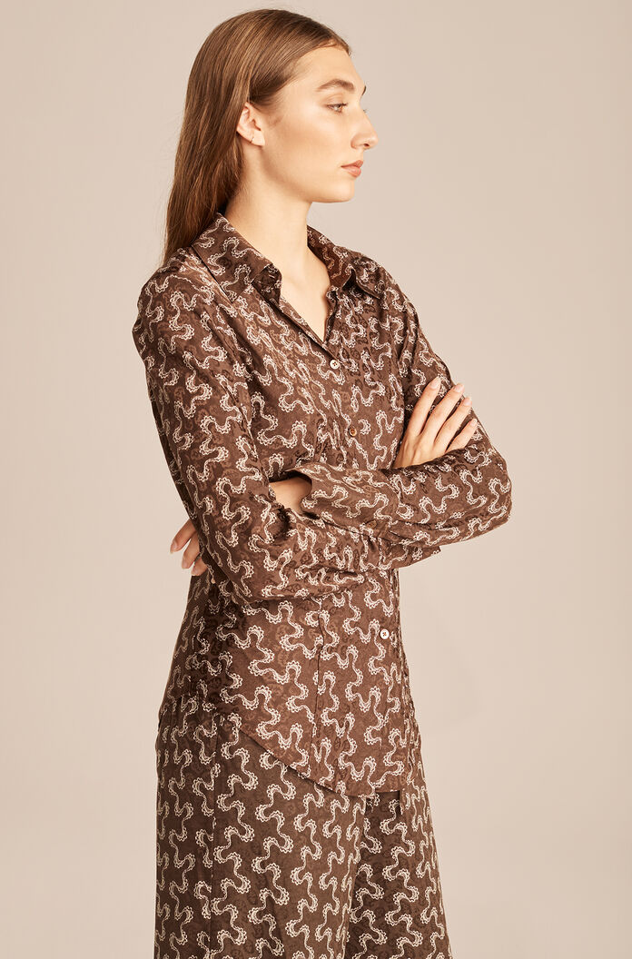Chantilly Wave Button Down, Chocolate Combo, large