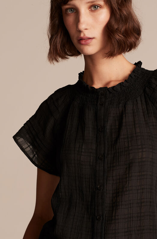 Gauzy Check Top, Black, large