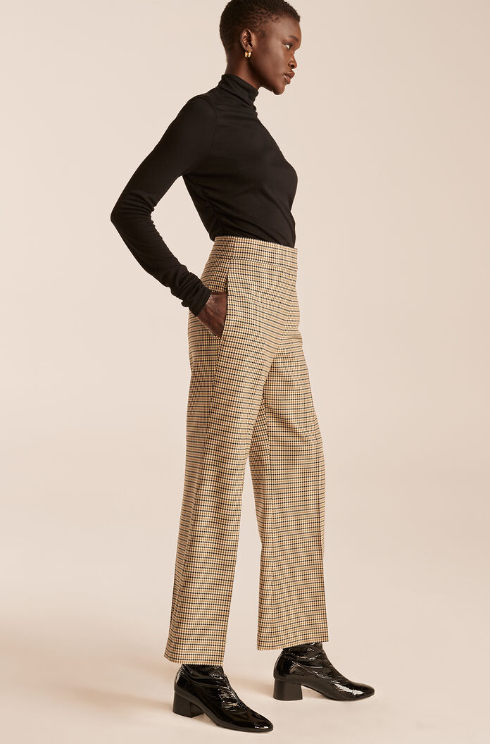 Houndstooth Cropped Flare Trouser, Military Green Combo, large