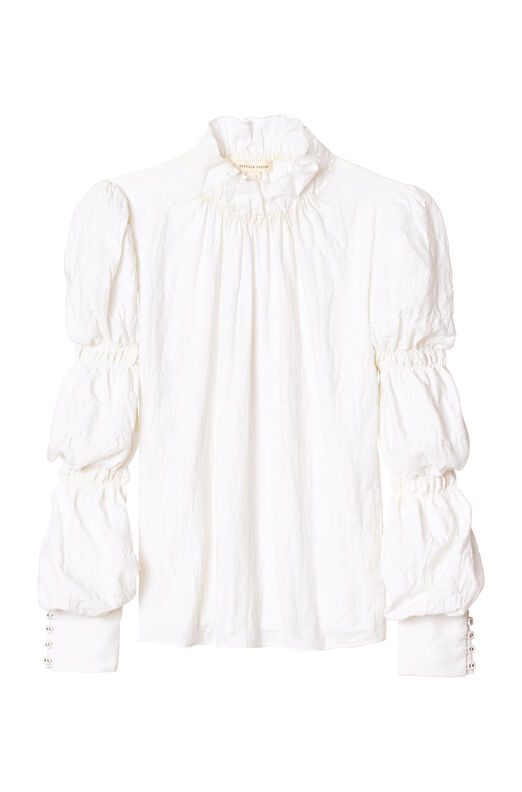 Textured Twill Ruched Sleeve Top