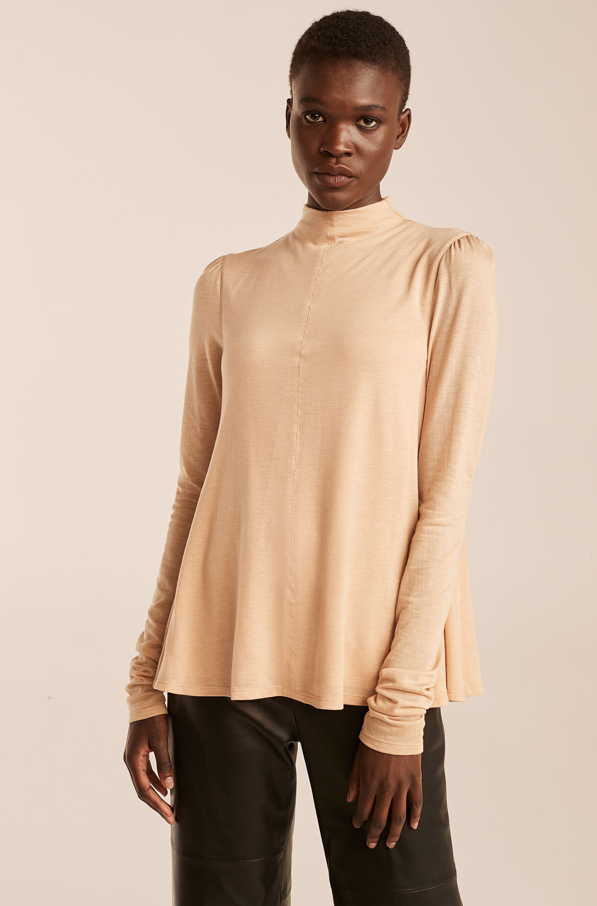 Mock Neck Trapeze Top, , large