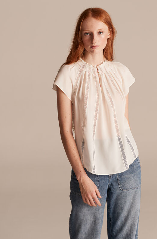 Tailored Lace Panel Silk Top, Snow, large