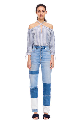 Open Shoulder Yarn-Dyed Striped Top - Blue/Milk