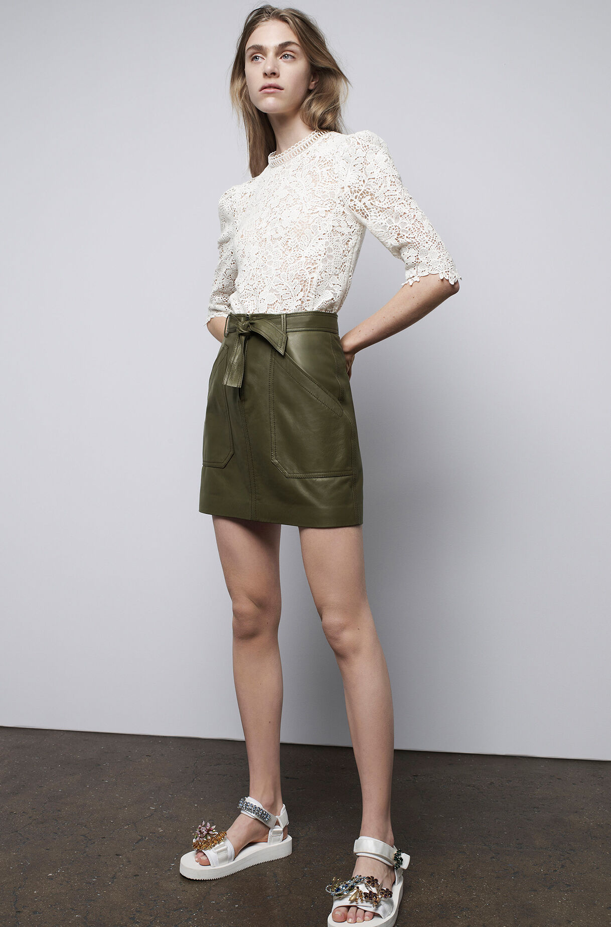 tumbled leather skirt | rebecca taylor