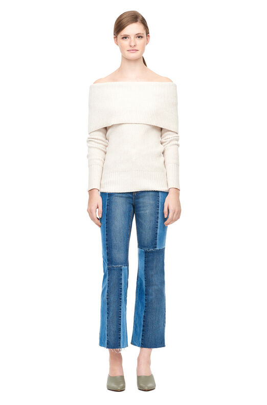 Off-The-Shoulder Cozy Wool Pullover - Pearl