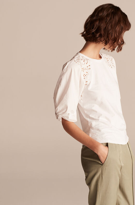 La Vie Ivy Embroidery Jersey Top, Milk, large