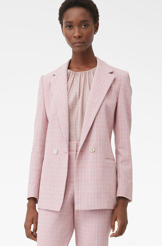 Tailored Rose Plaid Suiting Jacket, Rose, large