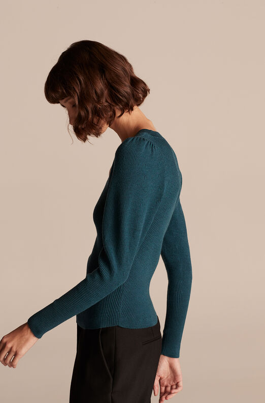 Merino Wool U Neck Sweater, Evergreen, large