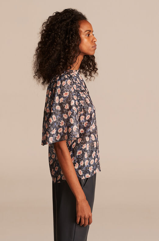 Thistle Fleur Flutter Sleeve Top, Black Combo, large