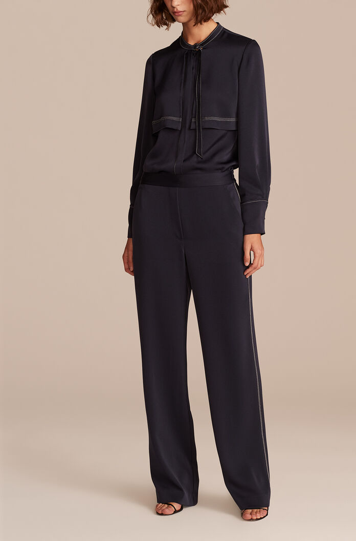 Luxe Satin Pant, Navy, large