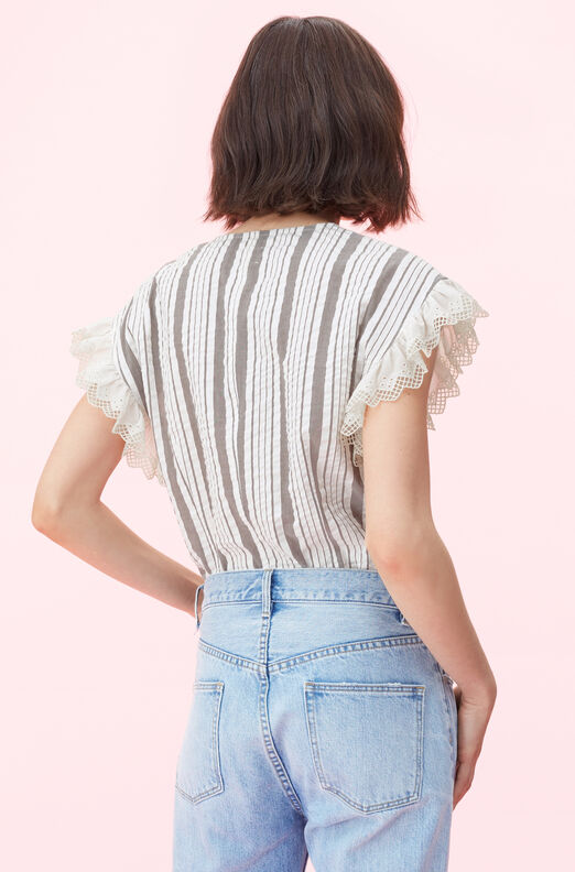 La Vie Corded Stripe Top With Eyelet