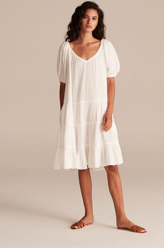 La Vie Double Gauze Dress, Milk, large