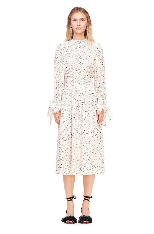 Scattered Star Print Smocked Dress - Snow Combo