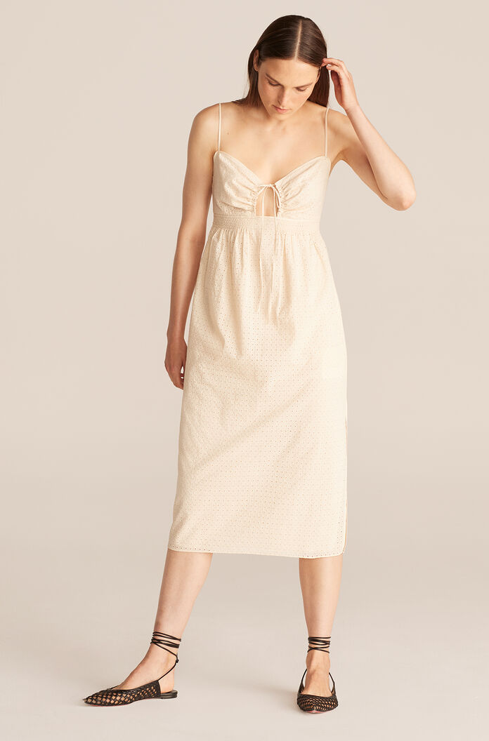 Lyra Embroidered Cutout Front Midi Dress, Papier Mache, large