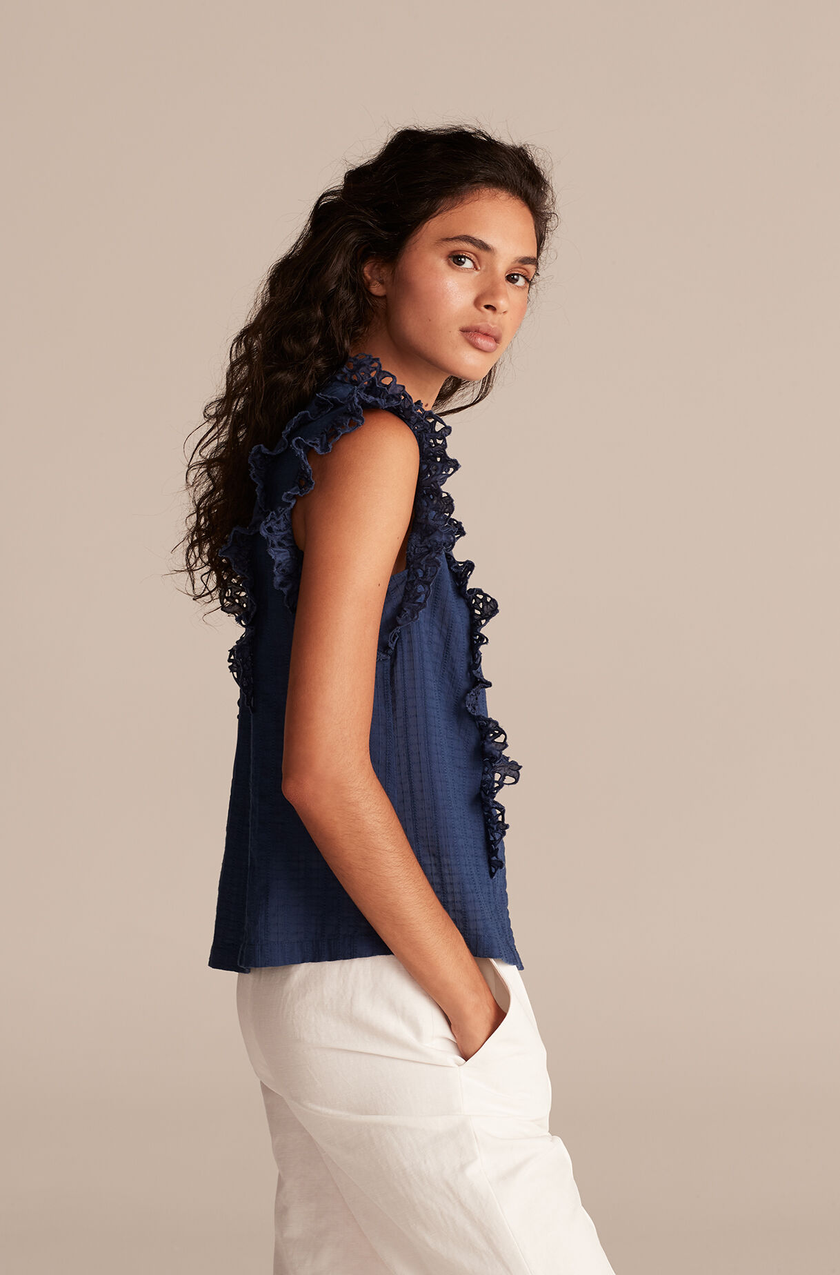 La Vie Palm Embroidery Top, Soft Indigo, large