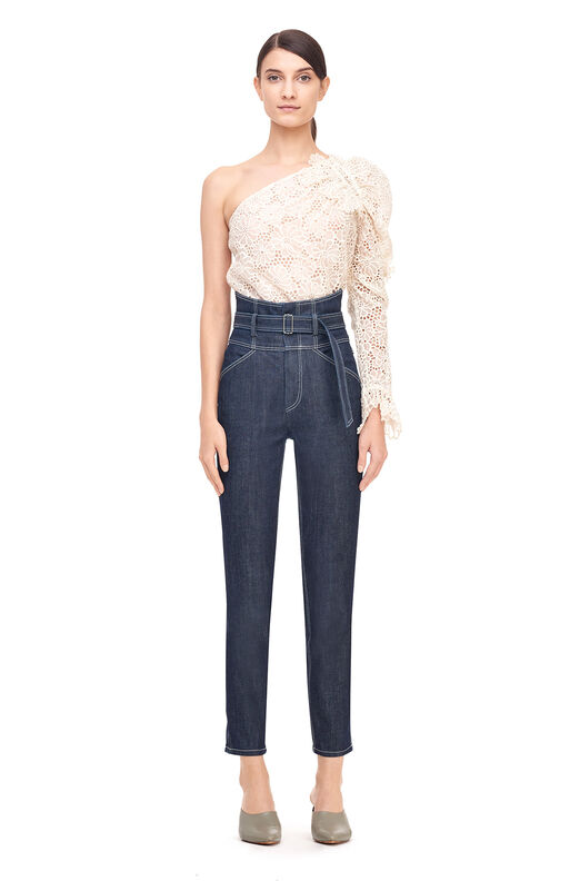 One-Shoulder Malorie Embroidered Top - Chalk