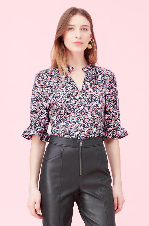Twilight Bloom Silk Twill Top