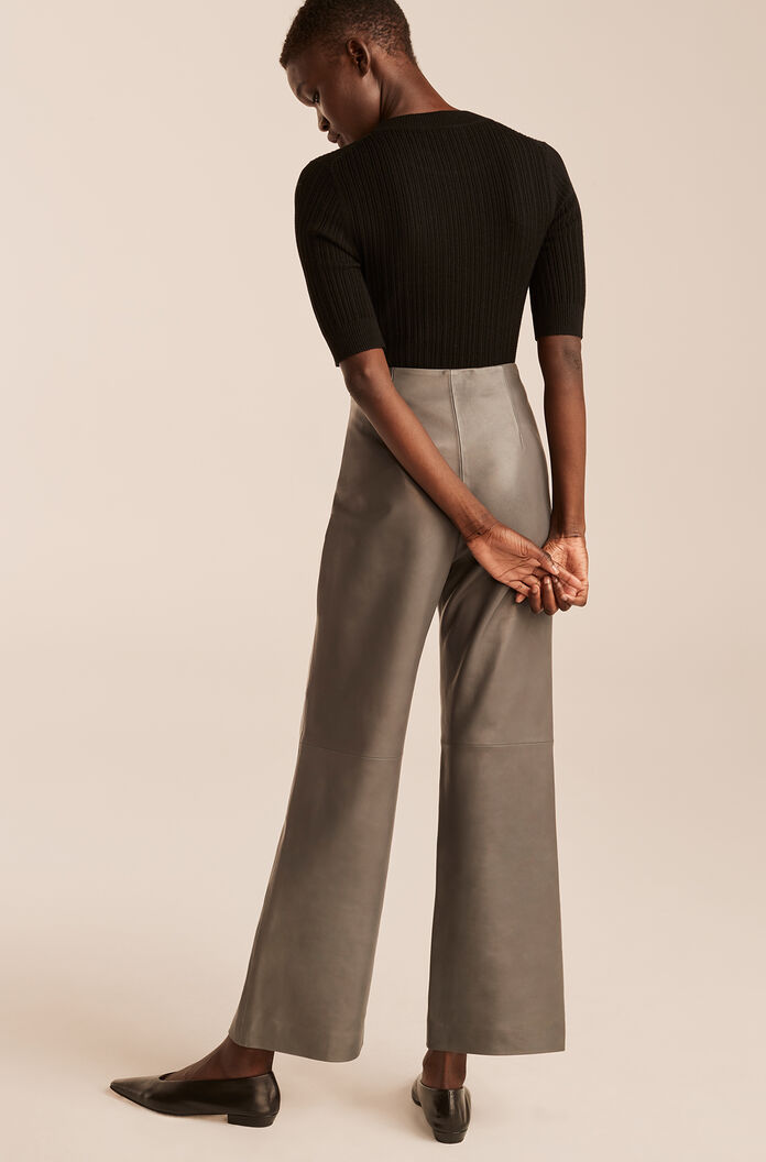 Leather Ankle Pant, Charcoal, large