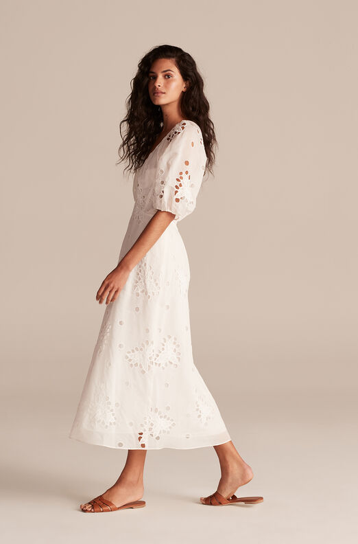 Honeysuckle Eyelet Dress, Milk, large